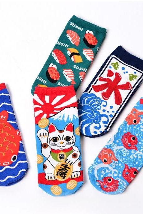 Kawaii Clothing Japan Socks Cat Sushi Maneki Neko Koi Fish Carp