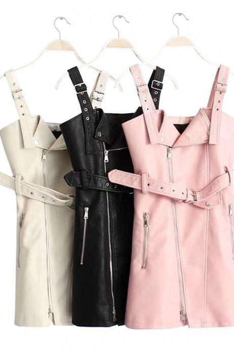 Kawaii Clothing Faux Leather Black Pink White Gothic Punk Dress
