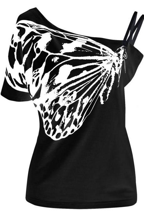 Kawaii Clothing Butterfly T-Shirt Black White Punk Top Harajuku