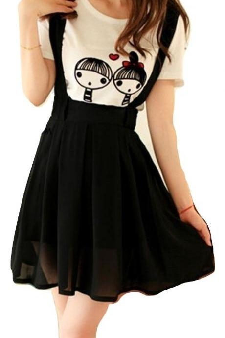 Kawaii Clothing Suspenders Skirt Black Blue Chiffon Short Navy