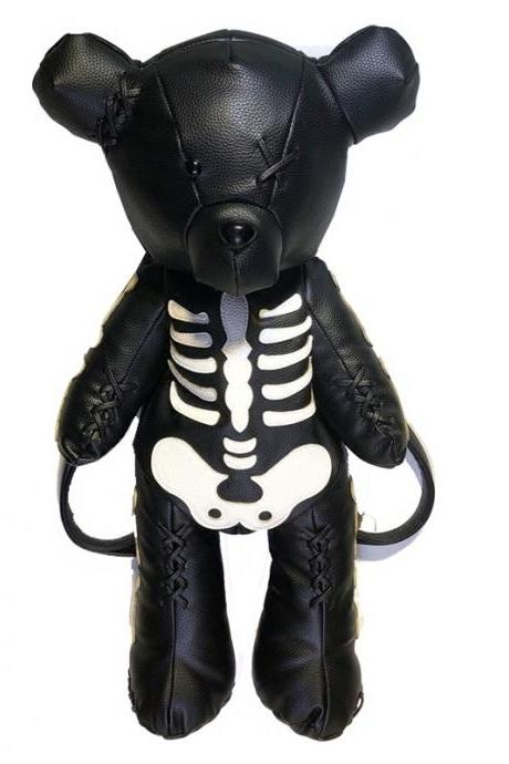 Kawaii Clothing Big Animal Punk Black Skeleton Bear Backpack Bag