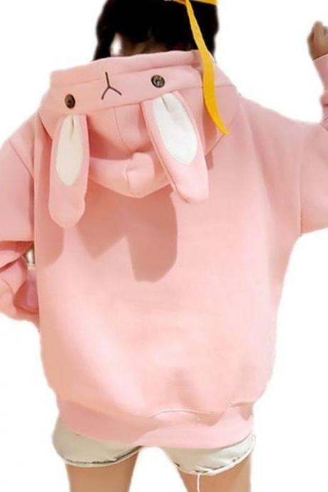 Kawaii Clothing Rabbit Hoodie Sweatshirt Ears Pink White Blue