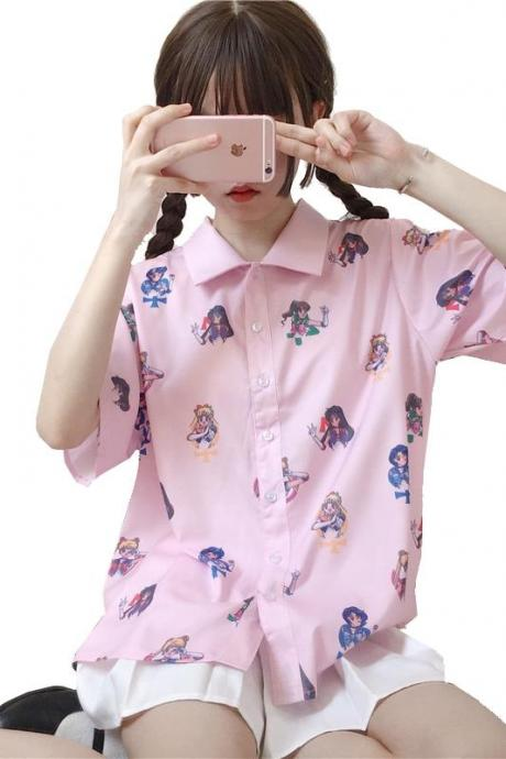 Kawaii Clothing Sailor Moon Blouse Pink Cartoon Shirt Anime Japan