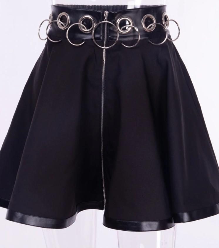 Kawaii Clothing Gothic Punk Rings Skirt Black Japan Ulzzang Metal