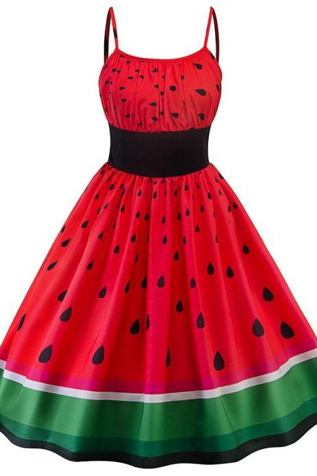 Watermelon Dress Kawaii Clothing Pinup Rockabilly Red Fruit Cool