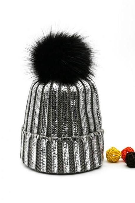 Pompom Silver Golden Beanie Kawaii Clothing Hat Shiny Black Cap