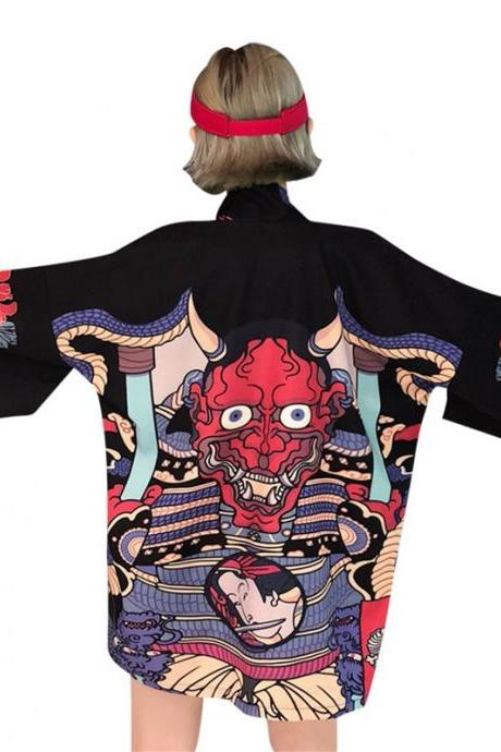 Kimono Hannya Oni Demon Jacket Kawaii Clothing Ulzzang Black Red