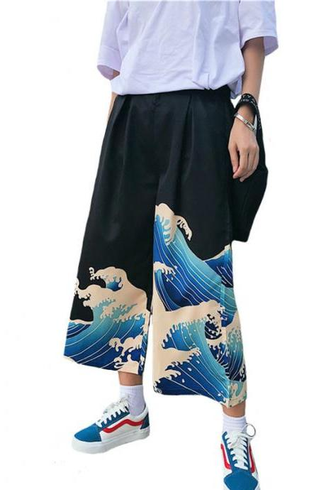 Japanese Wave Pants Kawaii Clothing Tsunami Hokusai Black Blue
