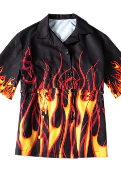 Kawaii Clothing Flames Shirt Blouse Fire Punk Black Rock Gothic
