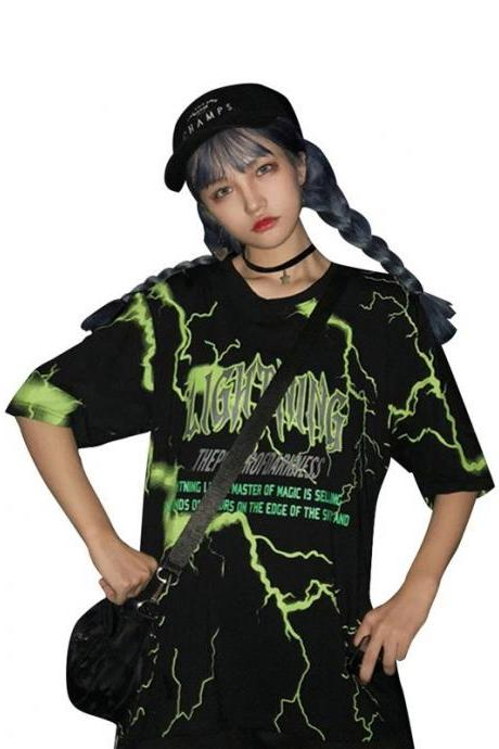 Kawaii Clothing Black Punk Thunder Lightning T-Shirt Hip Hop Rap