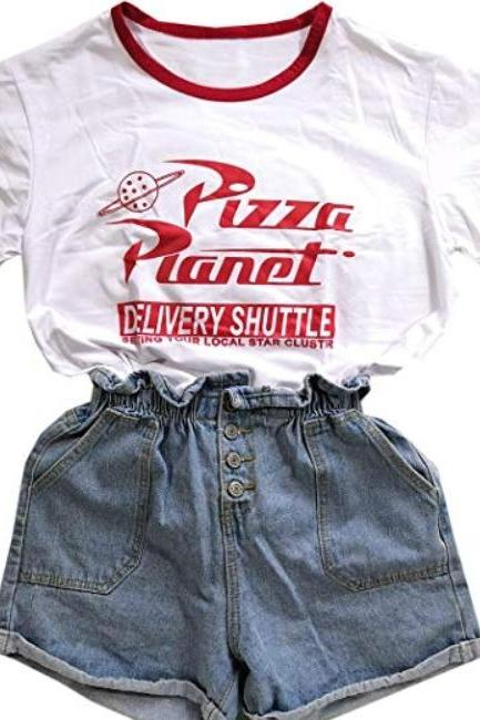 Kawaii Clothing White Japanese Korean Top Pizza Planet T-Shirt