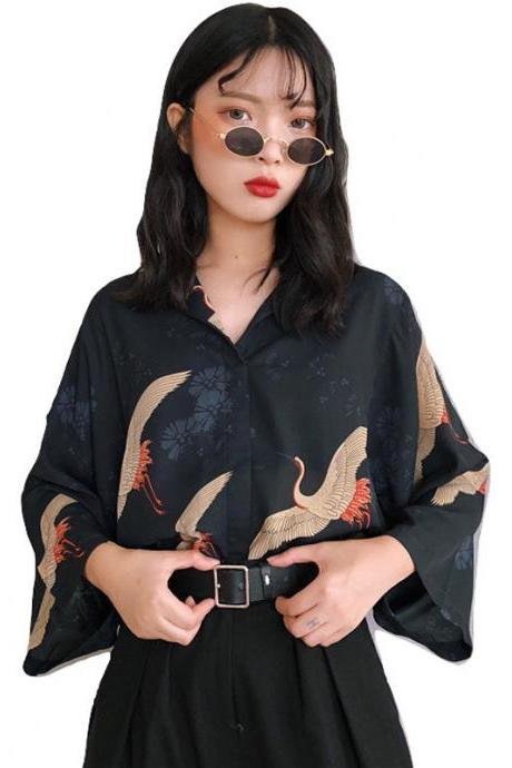 Kawaii Clothing Blue Vintage Retro Bird Crane Blouse Shirt Japan
