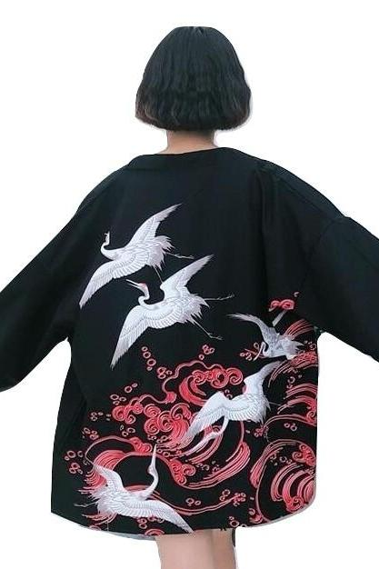 Kawaii Clothing Japanese Kimono Jacket Cranes Black Retro Haori