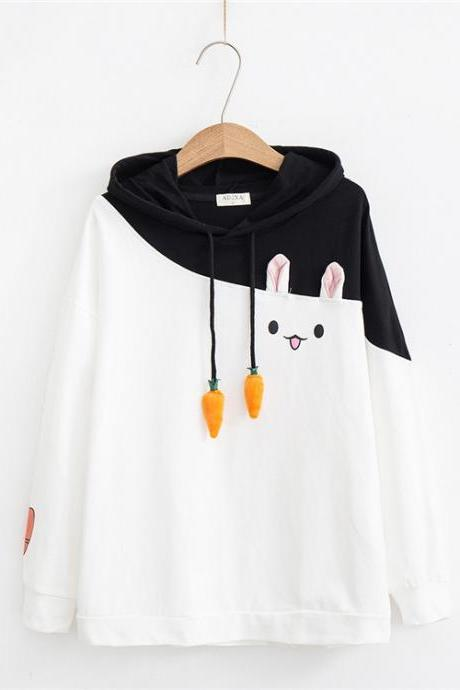 Kawaii Clothing Bunny Sweatshirt Cute Ears Rabbit Carrot Hoodie