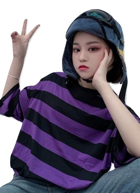 Clothing Kawaii T-Shirt Stripes Striped Black Purple Hip Hop
