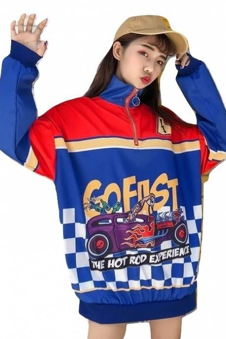 Clothing Kawaii Windbreaker Go Fast Bomber Jacket Racer Oversize