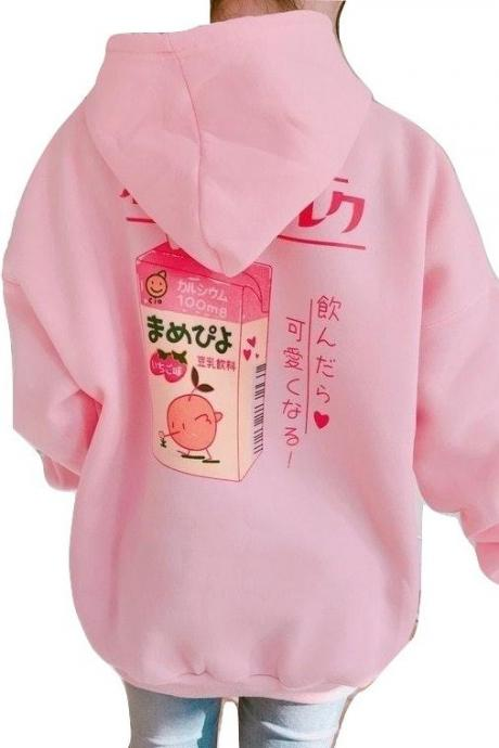 Kawaii Clothing Strawberry Juice Hoodie Sweatshirt Pink Milk Cute