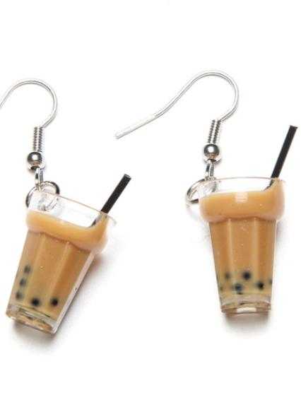 Kawaii Clothing Blubble Tea Tapioca Boba Drink Earrings Taro Milk