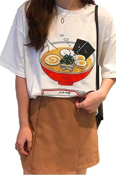 Kawaii Clothing Japanese Noodles T-Shirt Ramen White Naruto Soup