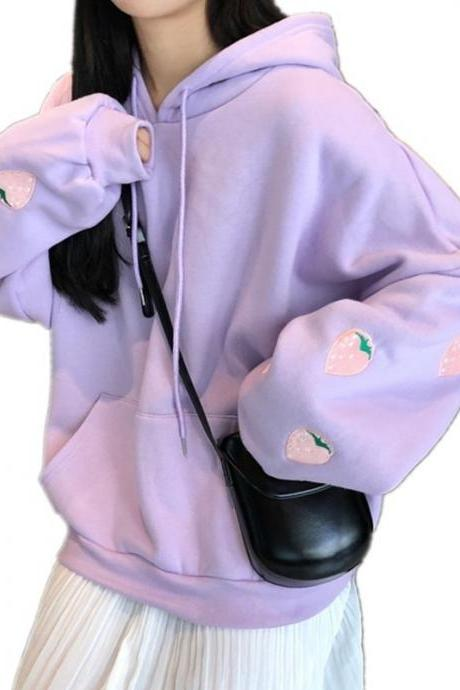 Kawaii Clothing Pastel Cute Hoodie Sweatshirt Strawberry Oversize