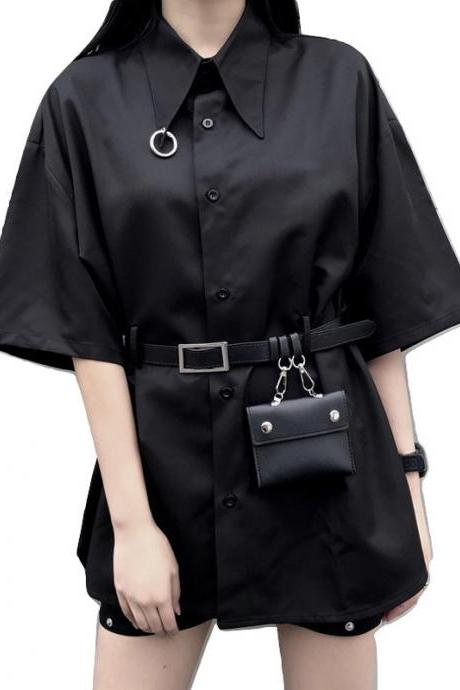 Kawaii Clothing Gothic Punk Blouse Shirt Black Wallet Belt Ring