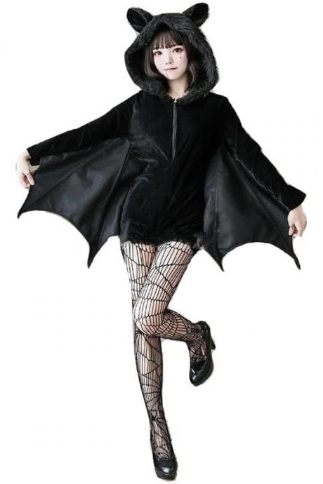 Kawaii Clothing Bat Wings Black Hoodie Costume Punk Gothic Ears