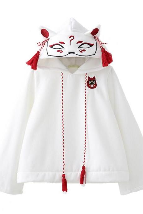 Kawaii Clothing Fox Hoodie White Black Ears Embroidery Daruma