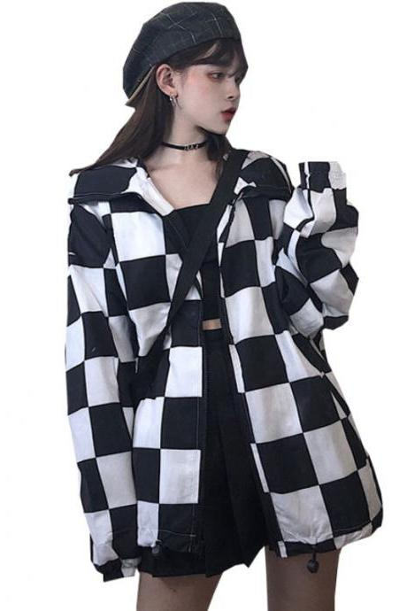 Kawaii Clothing Checkered Jacket Coat Plaid Punk Windbreaker Emo