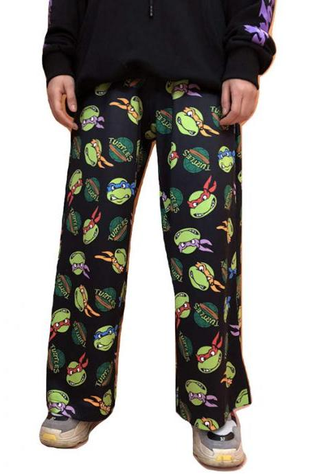 Kawaii Clothing Black Ninja Turtles Pants Cartoon Harajuku Jazz