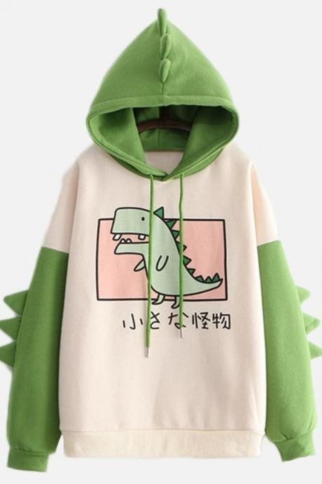 Kawaii Clothing Dinosaur Hoodie Sweatshirt Monster Green Spikes