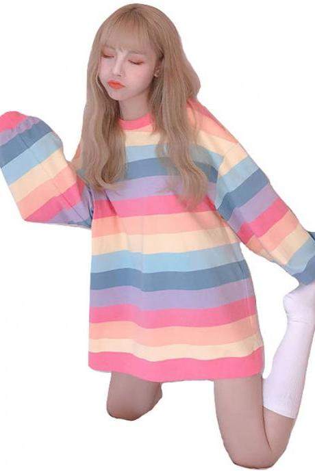 Kawaii Clothing Rainbow T-Shirt Long Sleeved Pink Pastel Goth