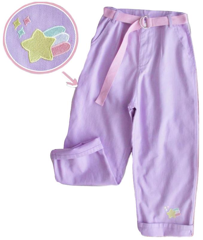 Kawaii Clothing Pastel Goth Pants Purple High Waist Jeans Belt