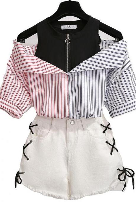 Kawaii Clothing Two Piece Set Denim Shorts Shirt Stripes Outfit WH409