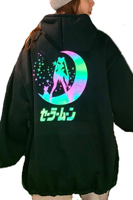 Kawaii Clothing Sailor Moon Hoodie Sweatshirt Anime Reflective WH502