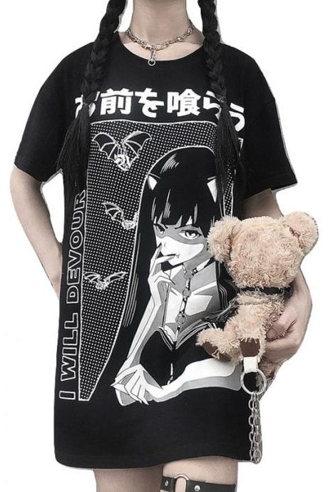 Kawaii Clothing Anime Yawn Girl T-Shirt Otaku Harajuku Japanese WH505