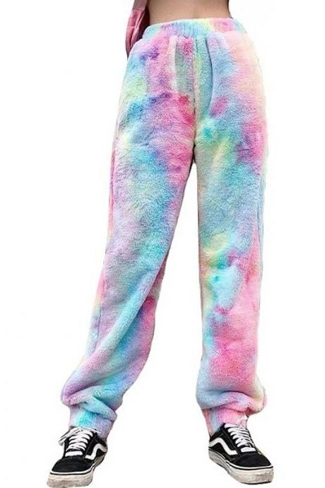 Kawaii Clothing Dye Tie Rainbow Pants Trouser Sweatpants Fur Fun WH509