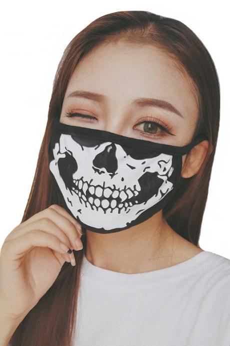 Kawaii Clothing Mask Black Punk Facial Mouth Face Gothic Skull Skeleton WH517