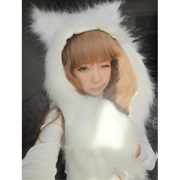 Kawaii Clothing Hat Beanie Ropa Gorro Cat Ears Fur Wolf Leopard Panda Dog Cute WH096