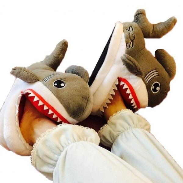 Kawaii Clothing Dental Teeth Shark Slippers Plush Gray Shoes Cute