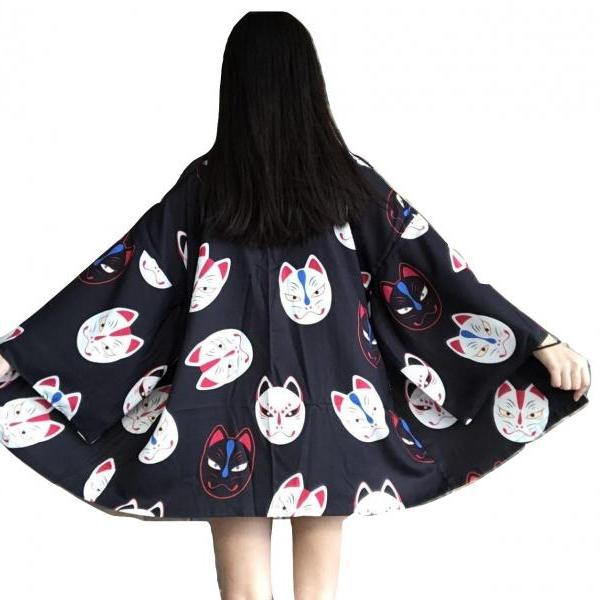 Kawaii Clothing Kitsune Kimono Jacket Fox Inari Japan Black Red