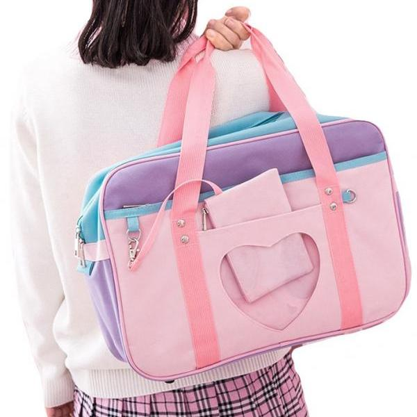 Kawaii Clothing High Shoulder Handbag Japanese School Heart Bag