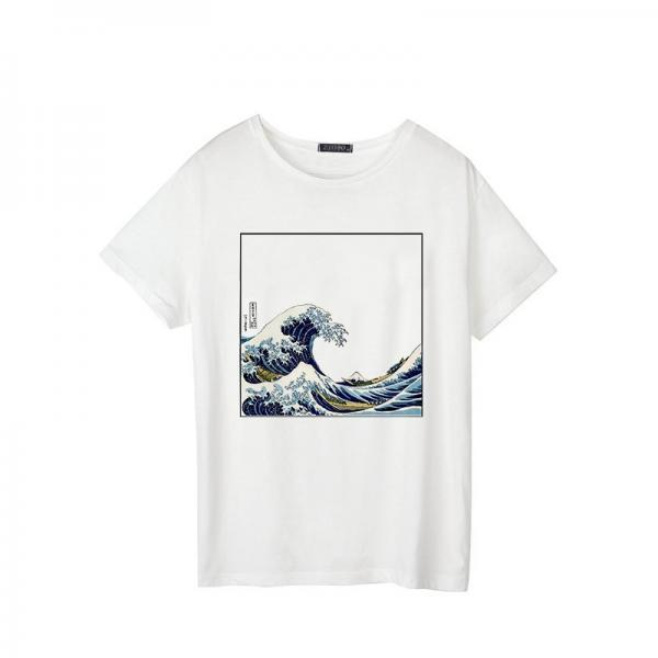 Kawaii Clothing Japanese Wave T-Shirt Ukiyoe Hokusai White Blue