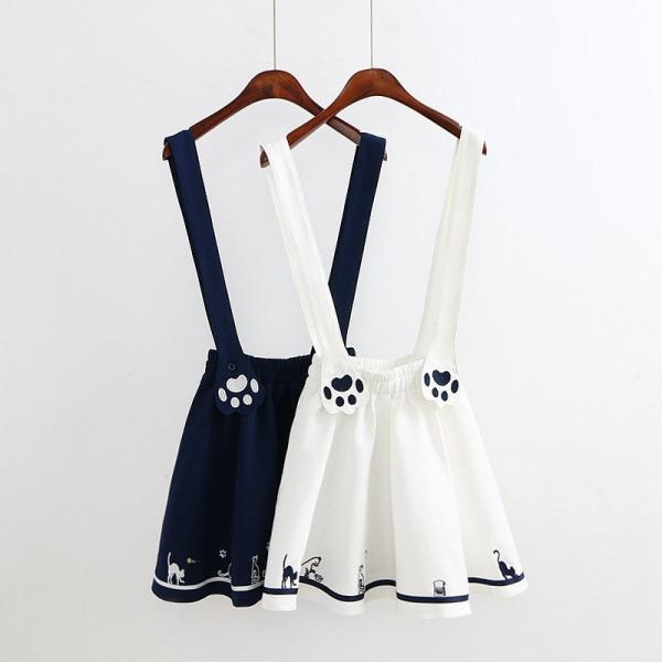 Kawaii Clothing Gothic Lolita Cute Japan Cat Paw Suspender Skirt